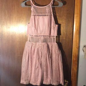 Blush fishnet semi-formal dress